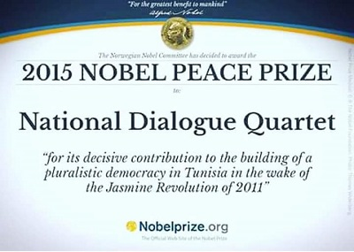 Le prix Nobel de la paix 2015 attribué au quartet du dialogue national tunisien